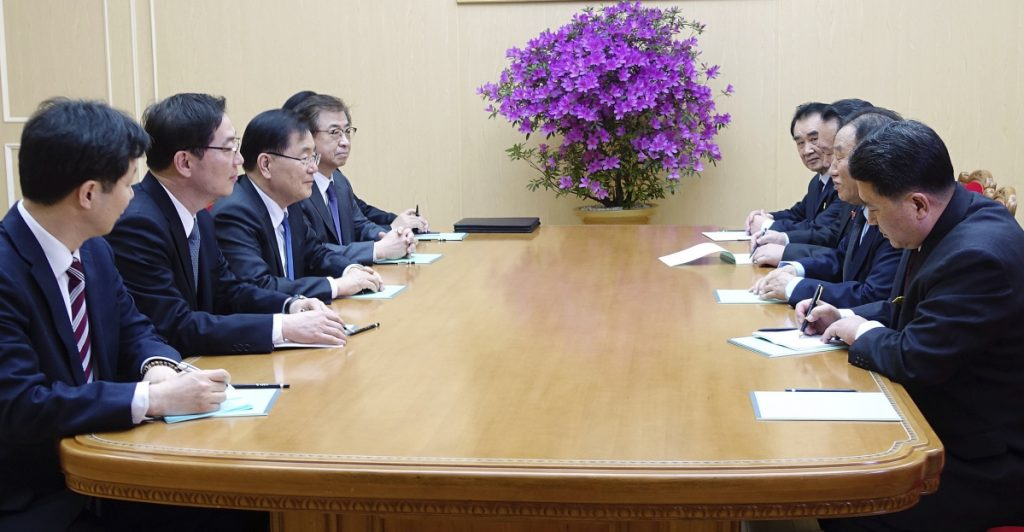 South Korean national security director Chung Eui-yong, third from left, meets with vice chairman of North Korea's ruling Workers' Party Central Committee, Kim Yong Chol. second from right, in Pyongyang, North Korea, Monday, March 5, 2018. The envoys for South Korean President Moon Jae-in are on a rare two-day visit to Pyongyang that's expected to focus on how to ease a standoff over North Korea's nuclear ambitions and restart talks between Pyongyang and Washington. (South Korea Presidential Blue House/Yonhap via AP)