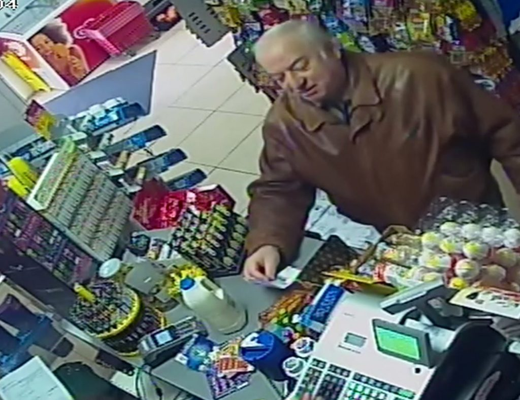 Former Russian double agent Sergei Skripal shops at a store in Salisbury, England, last week. He and his daughter were found unconscious on a bench in Salisbury on Sunday.