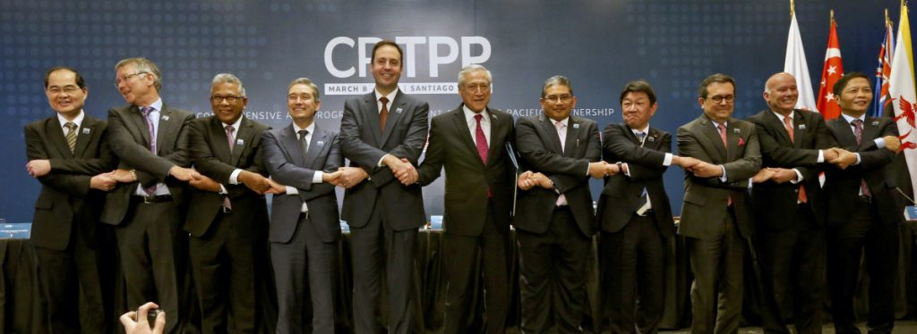 Trade ministers from 11 Pacific Rim nations pose for pictures after signing a sweeping free trade agreement Thursday in Santiago, Chile.