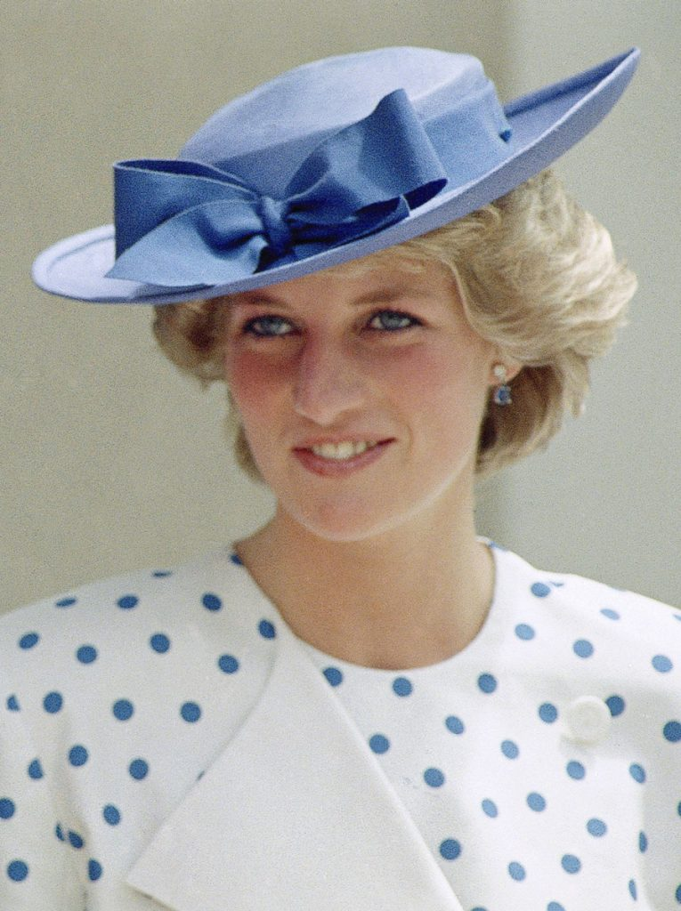 Princess Diana in 1985 wearing a hat designed by milliner John Boyd who died Feb. 20 at 92.
