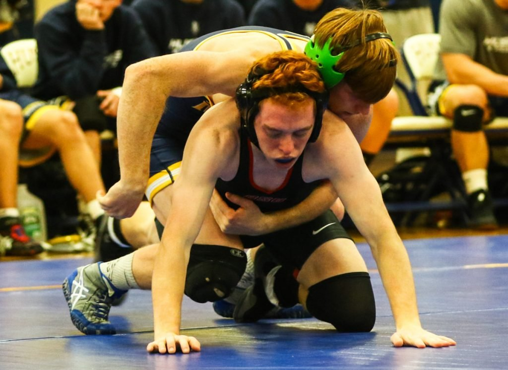USM sophomore Peter Del Gallo, top, has lost only one match this season and goes into the NCAA Division III wrestling championships as the No. 4 seed at 125 pounds.