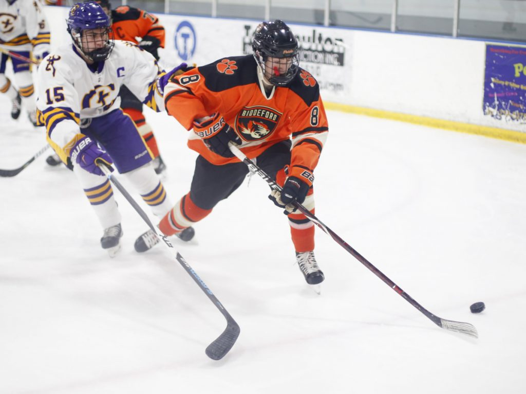 Freshman Nick McSorley leads Class A South champion Biddeford with 39 points (21 goals, 18 assists). The Tigers meet Lewiston Saturday night in the state title game.(Photo by Derek Davis/Staff photographer)