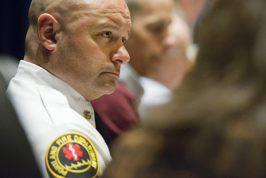 Keith Gautreau, assistant fire chief for Portland, serves as a primary instructor in the city's fire academy. He joined the fire department in 1995 and moved up through the ranks.