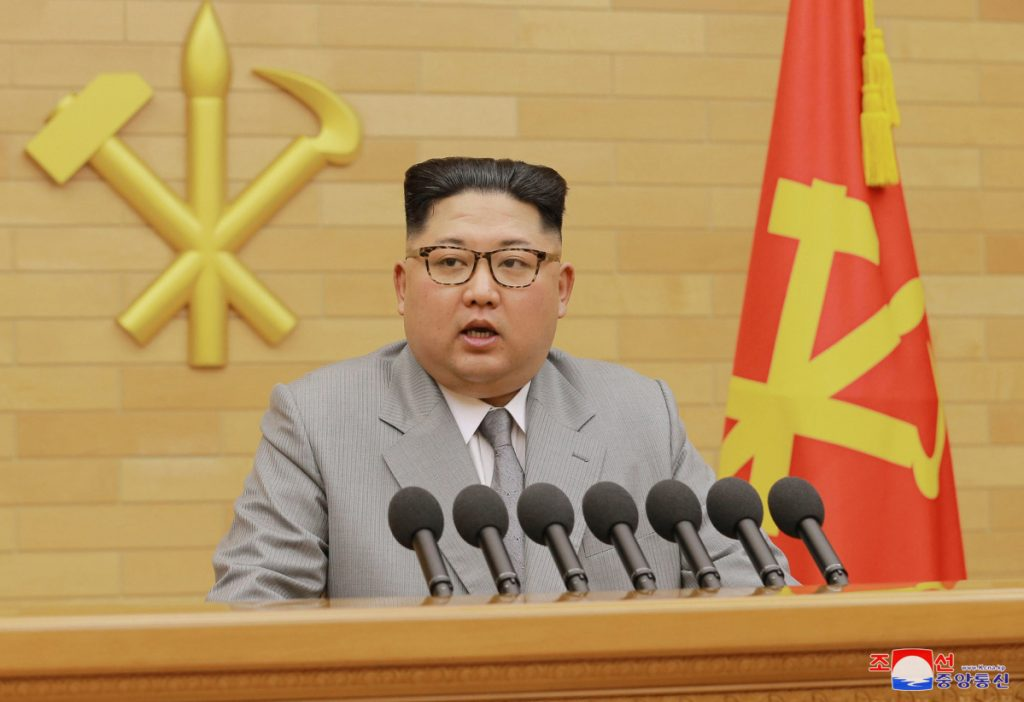 North Korean leader Kim Jong Un delivers his New Year's speech at an undisclosed location on Jan. 1.
