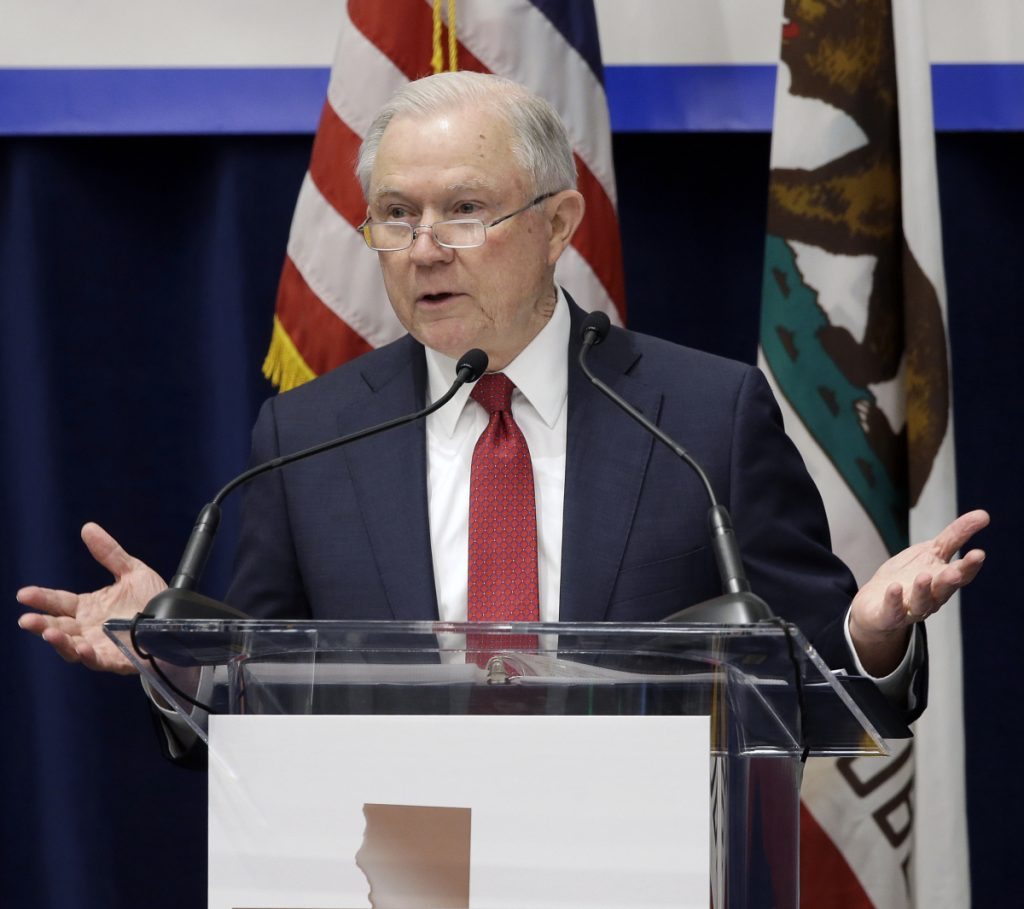 Attorney General Jeff Sessions says U.S. attorneys in states where marijuana is legal can decide whether to prosecute users.