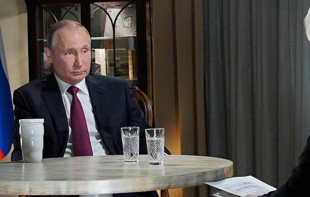 Russian President Vladimir Putin speaks during an interview with NBC News' Megyn Kelly in Kaliningrad. Putin denied the charge that he ordered meddling in the U.S. election.