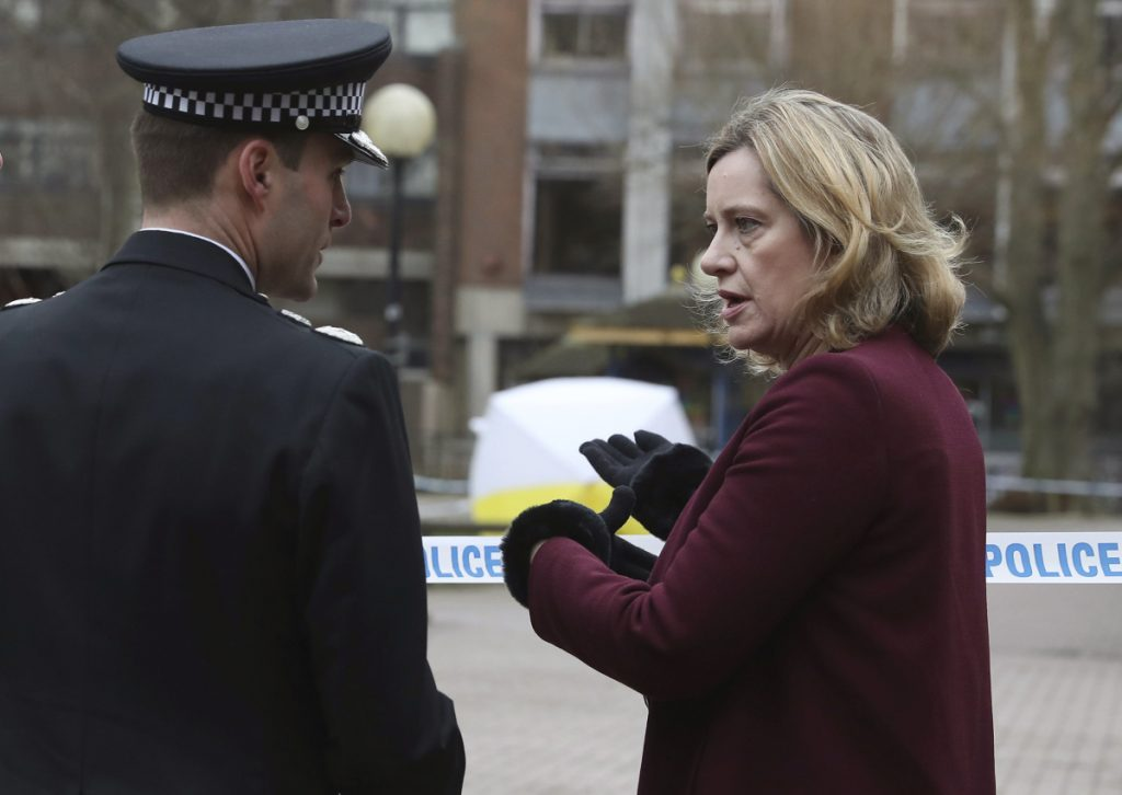 Britain's Home Secretary Amber Rudd talks with Wiltshire Police Assistant Chief Constable Kier Pritchard in Salisbury, where former Russian double agent Sergei Skripal fell ill.