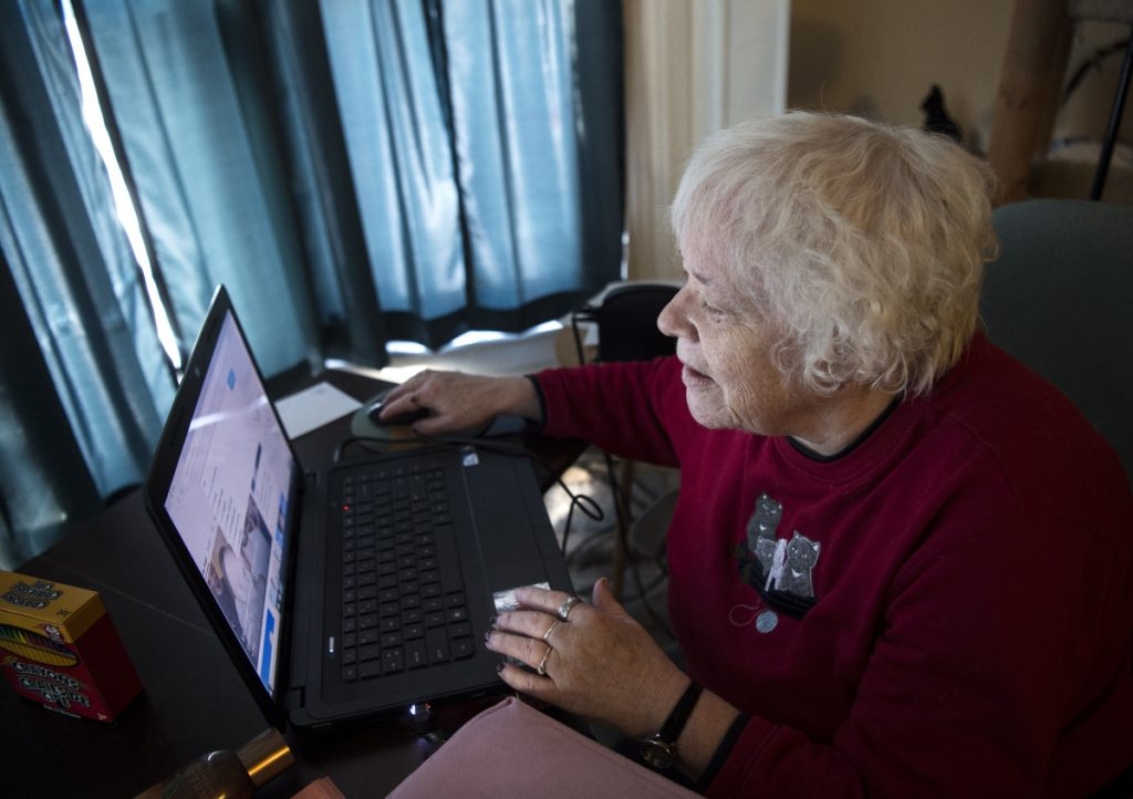 Faith Young, 62, of Fairfield struggles to navigate the new filing system for jobless benefits, describing herself as a