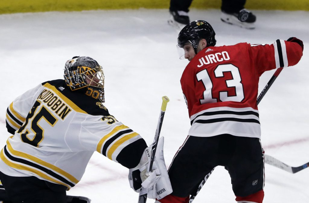 Bruins goalie Anton Khudobin blocks a shot by Chicago left wing Tomas Jurco during the third period of Chicago's 3-1 win Sunday in Chicago.