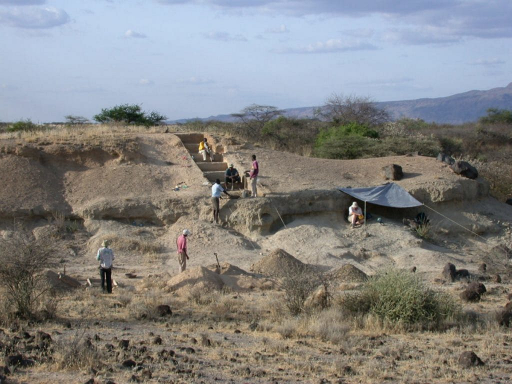 Researchers work at the Olorgesaile prehistoric site in Kenya.