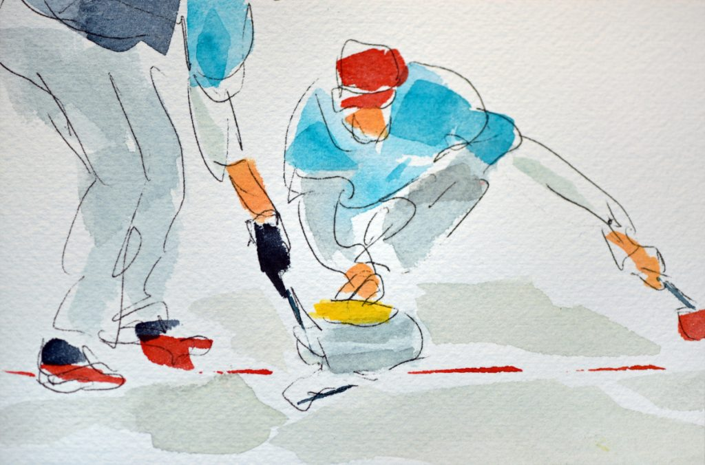 Children's author and watercolor artist Bruce McMillan tweeted to members of the U.S. Olympic curling team during February's Olympics, often sharing a painting he made of their matches. He did a dozen in all.
