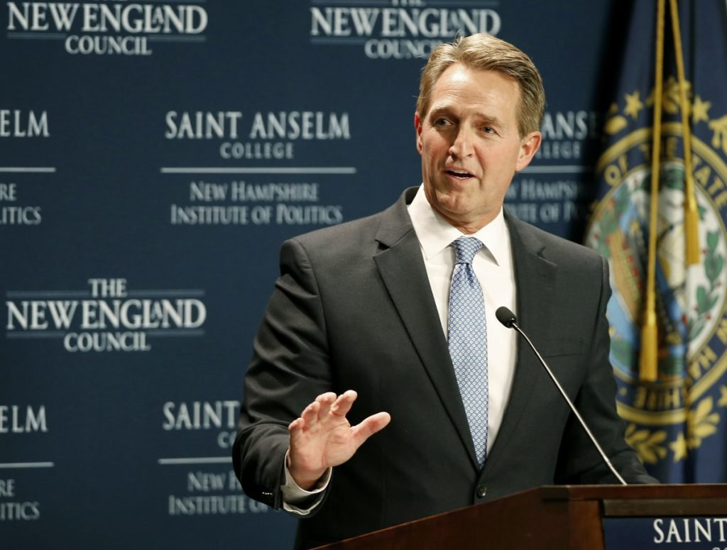 Sen. Jeff Flake, R-Arizona, speaks at the New Hampshire Institute of Politics at Saint Anselm College in Manchester, New Hampshire, on Friday.