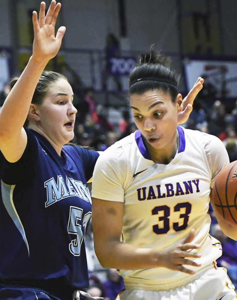 Fanny Wadling, left, will be a key player Saturday for Maine in the first round of the NCAA tournament against Texas, as the Black Bears' only post player in a starting lineup that includes four guards.