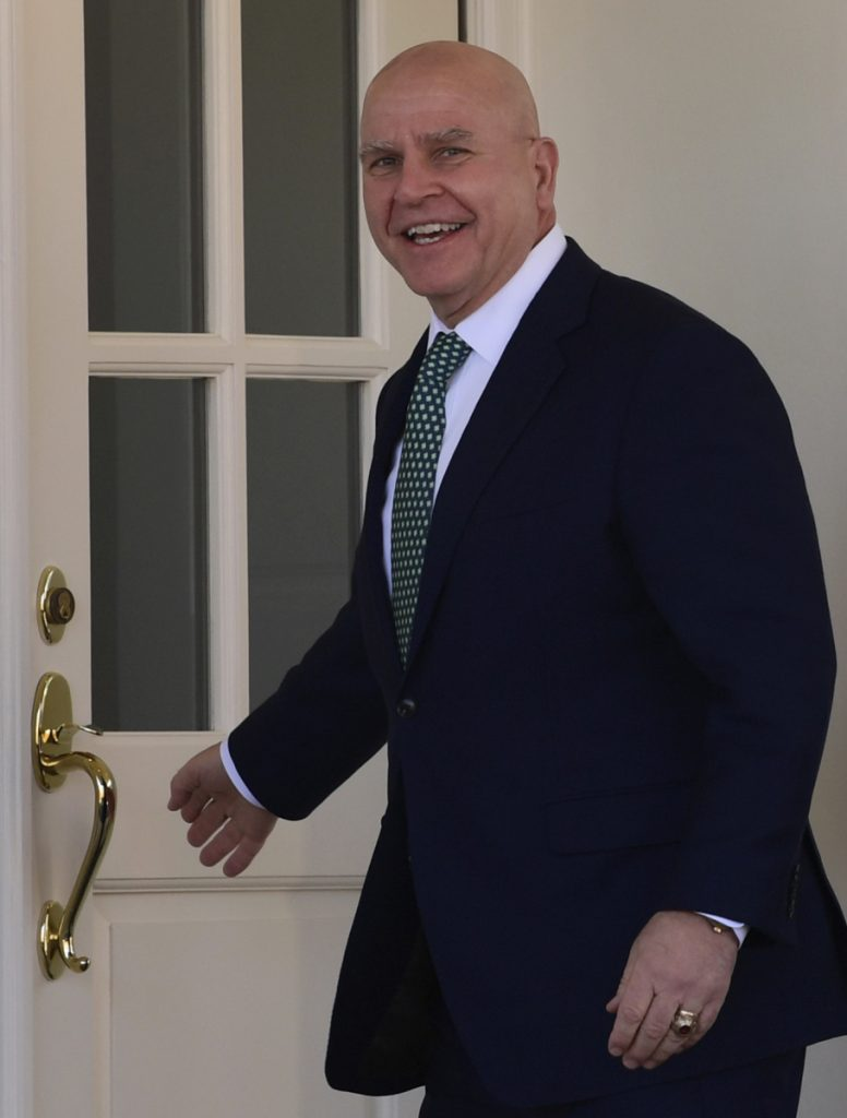 National security adviser H.R. McMaster enters the White House Friday.