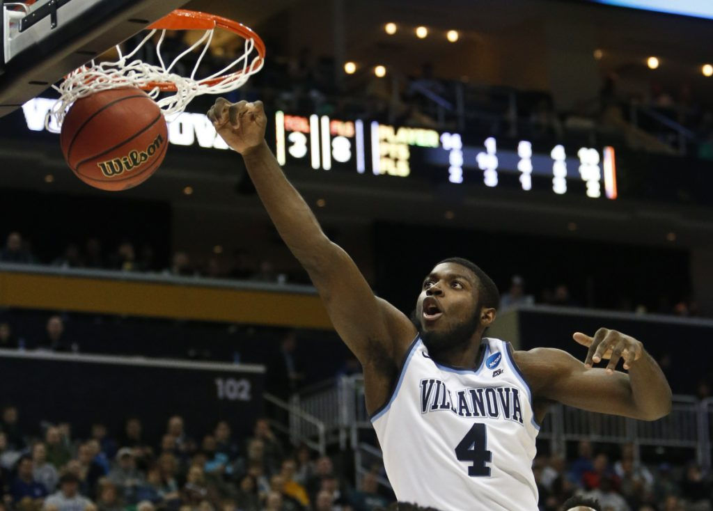 Villanova's Eric Paschall dunks during the second half of his team's 81-58 win over Alabama in the second round of the NCAA men's basketball tournament Saturday in Pittsburgh.