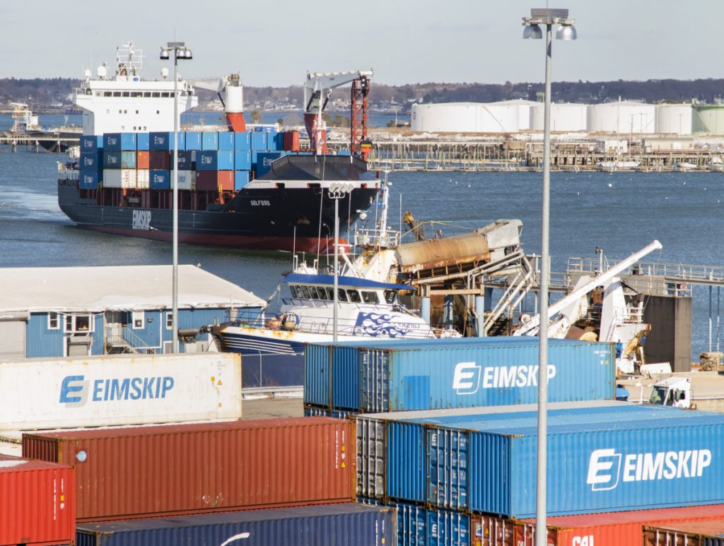 An Eimskip container ship navigates toward the International Marine Terminal on Commercial Street in Portland on Friday.