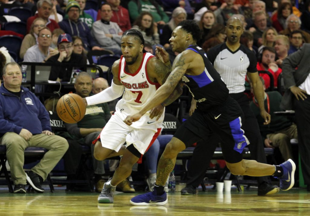 Trey Davis was all but unstoppable Sunday for the Maine Red Claws – Jay Wright of Lakeland attempts to answer the challenge – while scoring a team-record 57 points. The previous record was 52, set by Kenny Hayes six years ago.