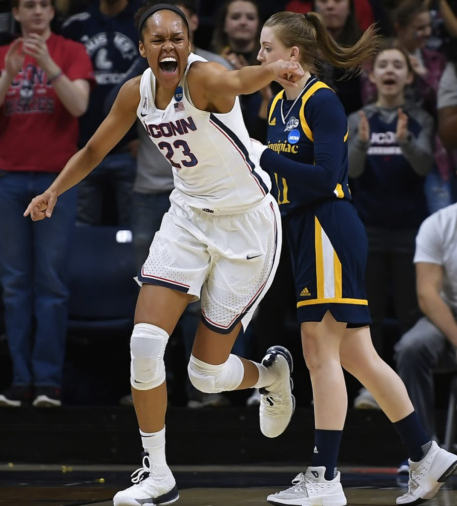 Connecticut's Azurá Stevens reacts after a basket during the Huskies' 71-46 victory over Quinnipiac in the second round of the NCAA women's tournament Monday at Storrs, Conn.