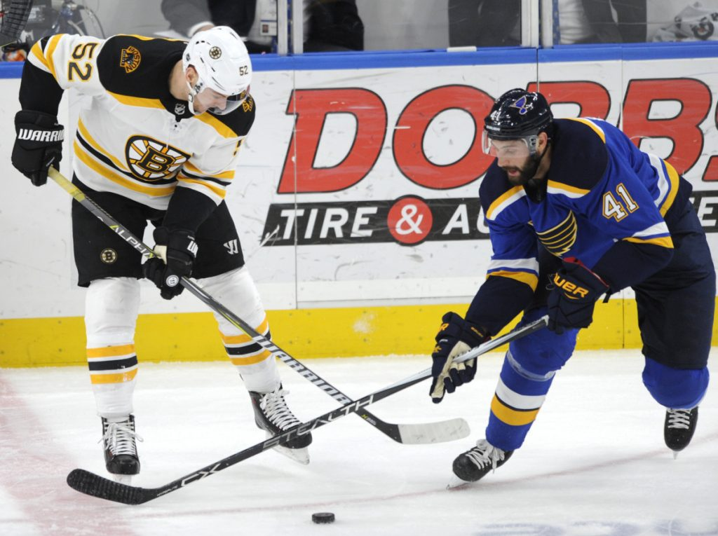 St. Louis' Robert Bortuzzo and Boston's Sean Kuraly vie for the puck during the first period Wednesday night in St. Louis.