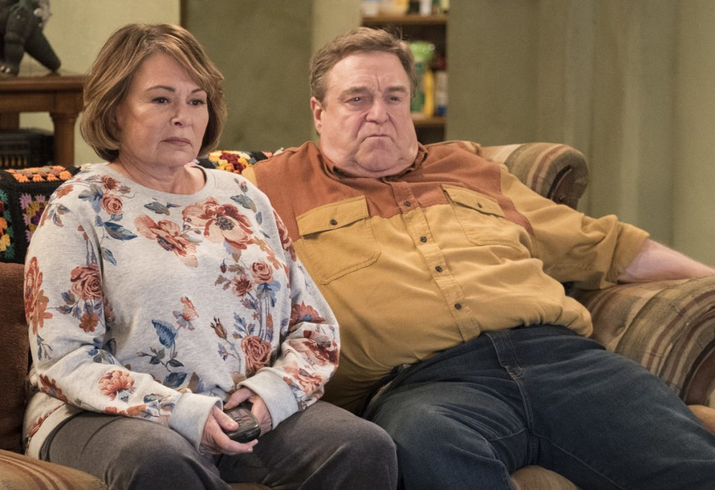 "Roseanne Barr and John Goodman appear in a scene from the reboot of ""Roseanne,"" premiering on Tuesday."