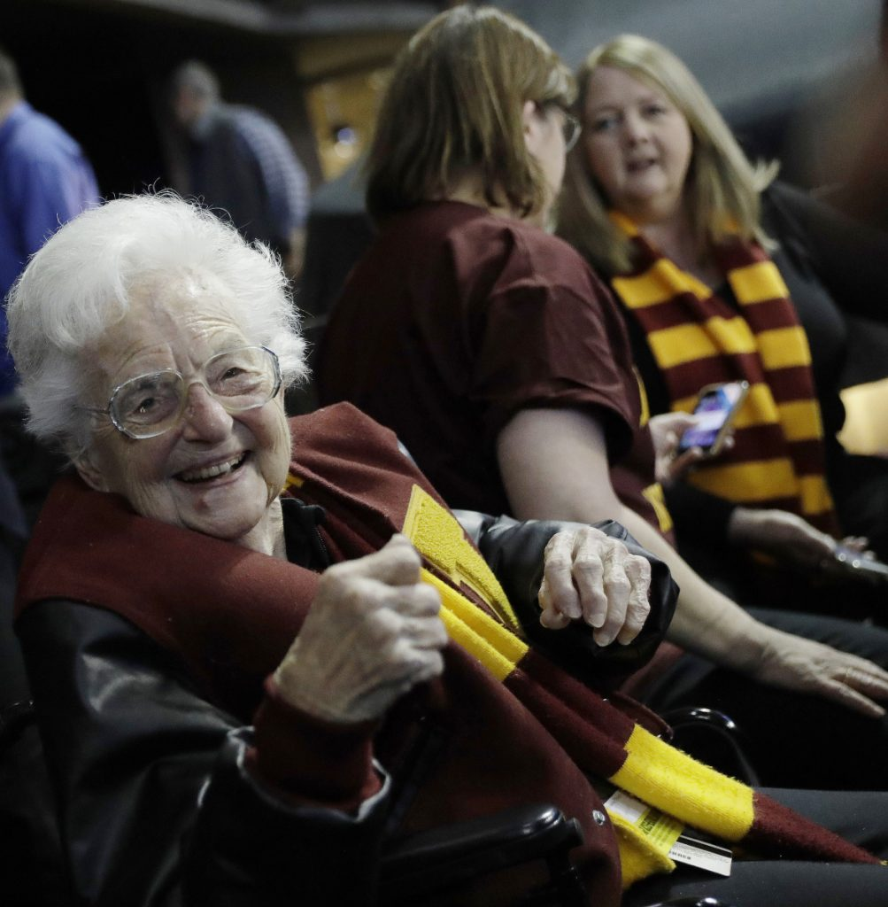 Sister Jean Dolores Schmidt, the 98-year-old chaplain for the Loyola men's basketball team, watched her team continue its who-would-have-guessed-it streak of wins Thursday night.