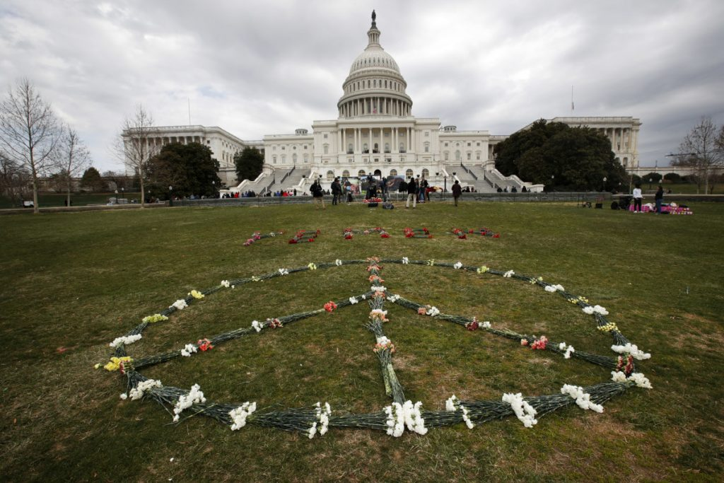 To memorialize the 5,000 children killed by Saudi bombings in Yemen, activists placed 5,000 flowers in a peace sign on the West Front of the Capitol on Monday. The Saudis' scorched-earth tactics have also included a blockade of ports that has brought Yemen to the brink of famine.
