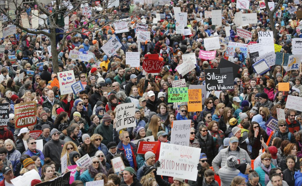 Thousands join in the March for Our Lives protest at City Hall in Portland on Saturday. While young people took to the streets to protest a lack of government action, a ban on public health research has been lifted.