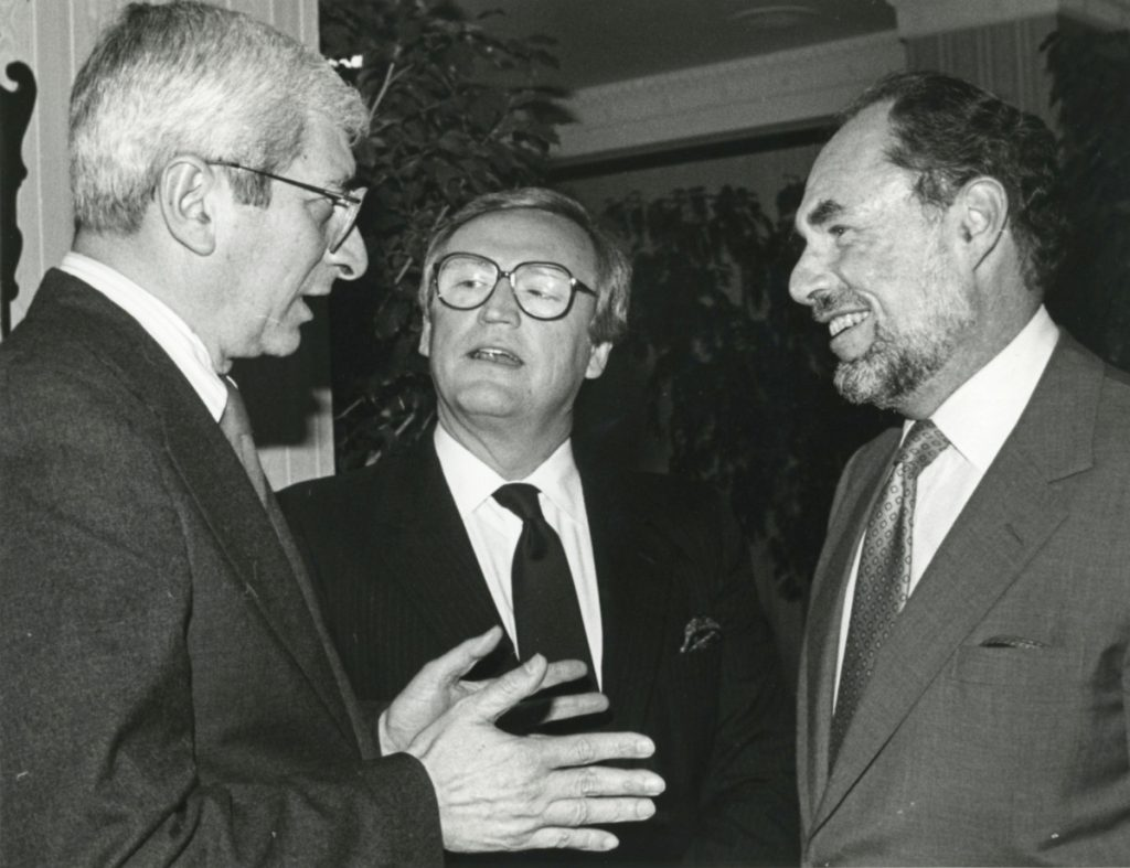 Lawrence Grossman, right, meets with NBC's Marvin Kalb, left, and Robert McFarland in 1987.
