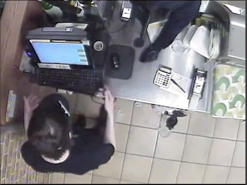 One part of the surveillance video from Monday night's robbery shows a bird's-eye view of the crime.