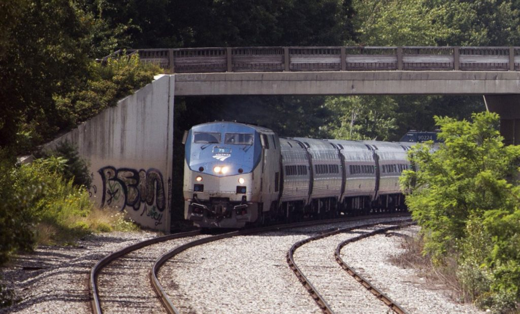 The northbound Amtrak Downeaster heads toward Brunswick in March.