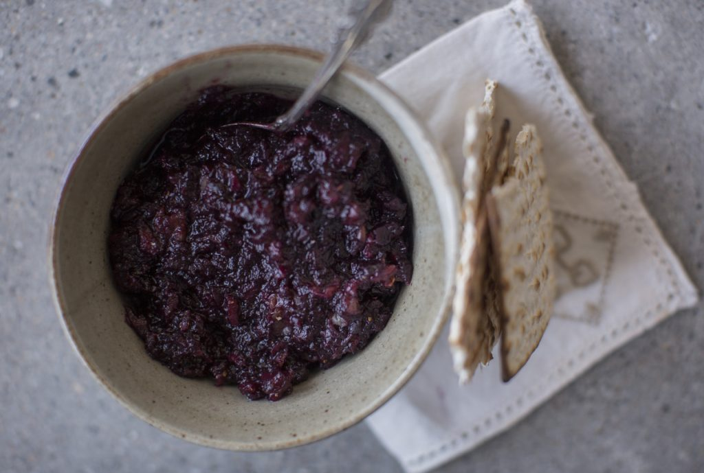 Maine blueberry haroset with matzo.