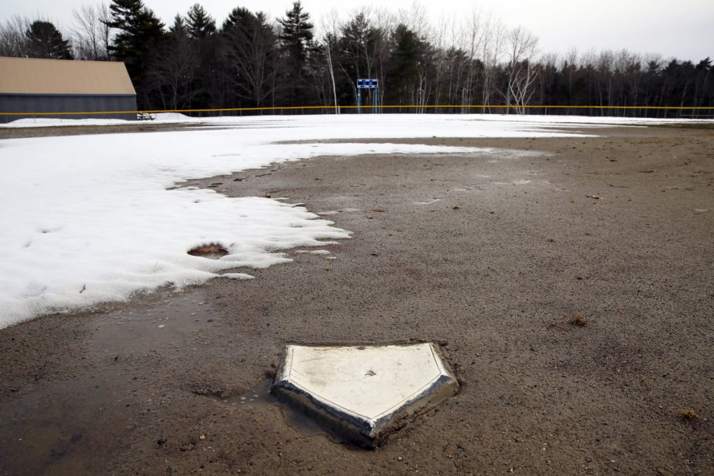 Home plate may be ready for baseball at Falmouth High, but the field remains steeped in muddy meltwater with the start of the season rapidly approaching.