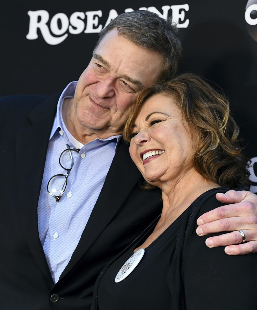 "John Goodman and Roseanne Barr arrive at the Los Angeles premiere of ""Roseanne"" last Friday."