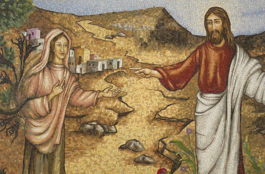 A mosaic at the Magdala center, on the Sea of Galilee in Migdal, depicts Mary Magdalene and Jesus.