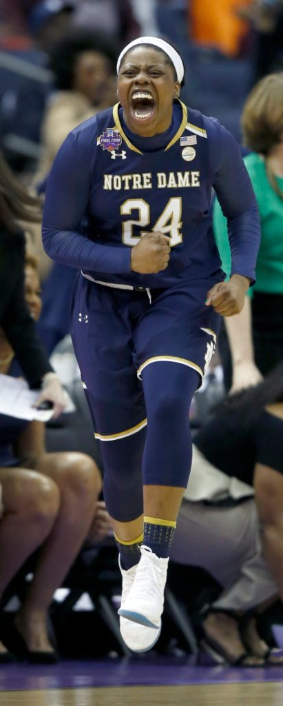 It was an improbable win, featuring overtime and last second shots, so it's no surprise the Arike Ogunbowale felt the need to celebrate during Notre Dame's 91-89 win over UConn on Friday night.