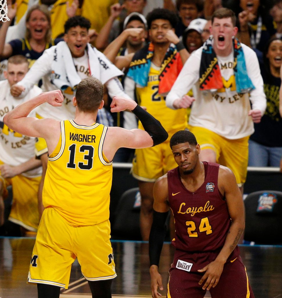 It was a strong comeback and Moe Wagner was at the center of it Saturday, finishing with 24 points and 15 rebounds as Michigan rallied to a 69-57 victory over Aundre Jackson and Loyola in the national semifinals.