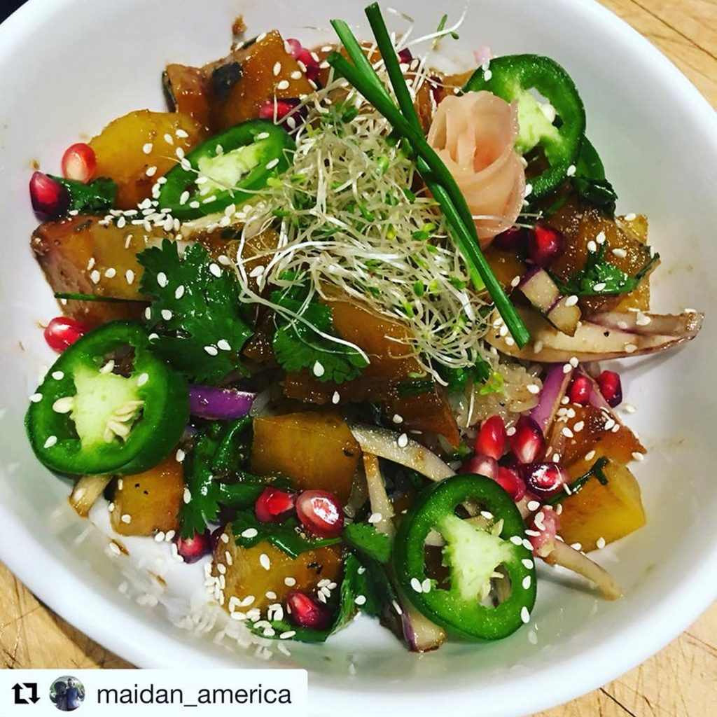 Blue Mermaid Island Grill S Golden Beet Poke Bowl