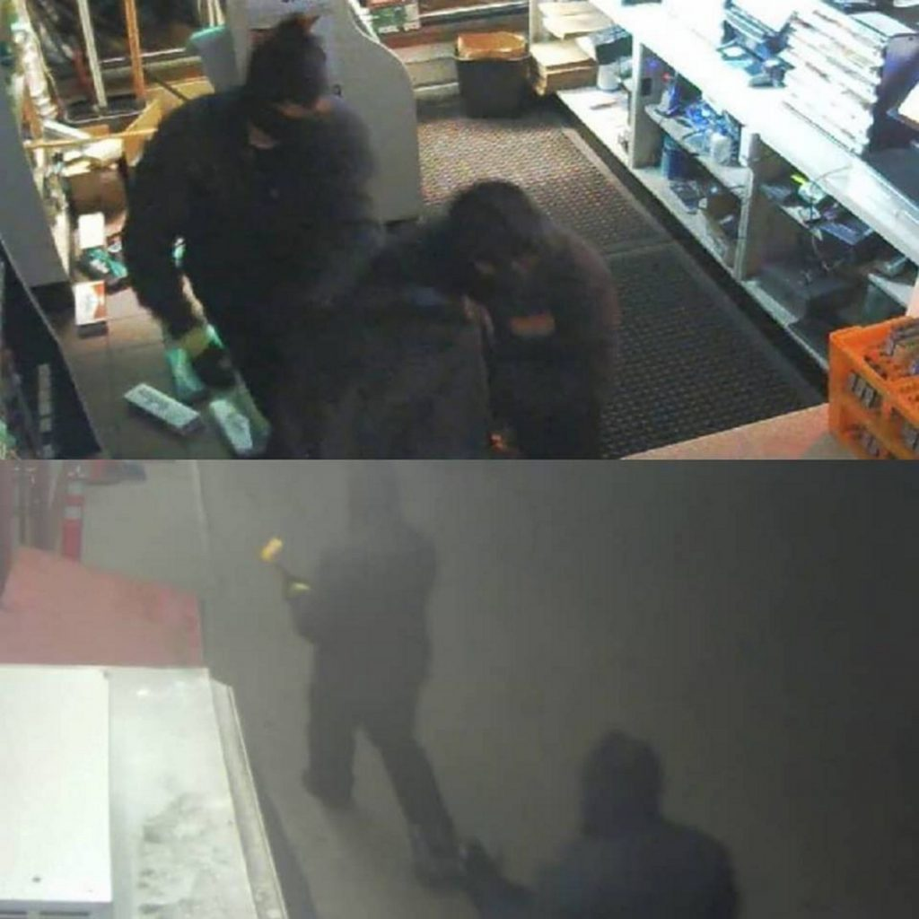 Surveillance images released by authorities show two people burglarizing the J&S Oil on Maine Avenue in Farmingdale Sunday night.