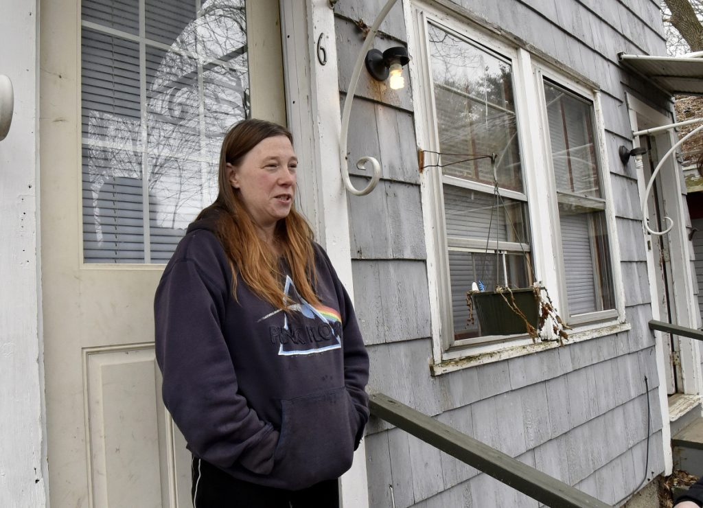 Heather Parker talks on Wednesday about Vaughan Orchard, who was staying in the apartment above hers on Silver Place in Waterville. Orchard, who for years was homeless, died of an apparent heart attack last Saturday.
