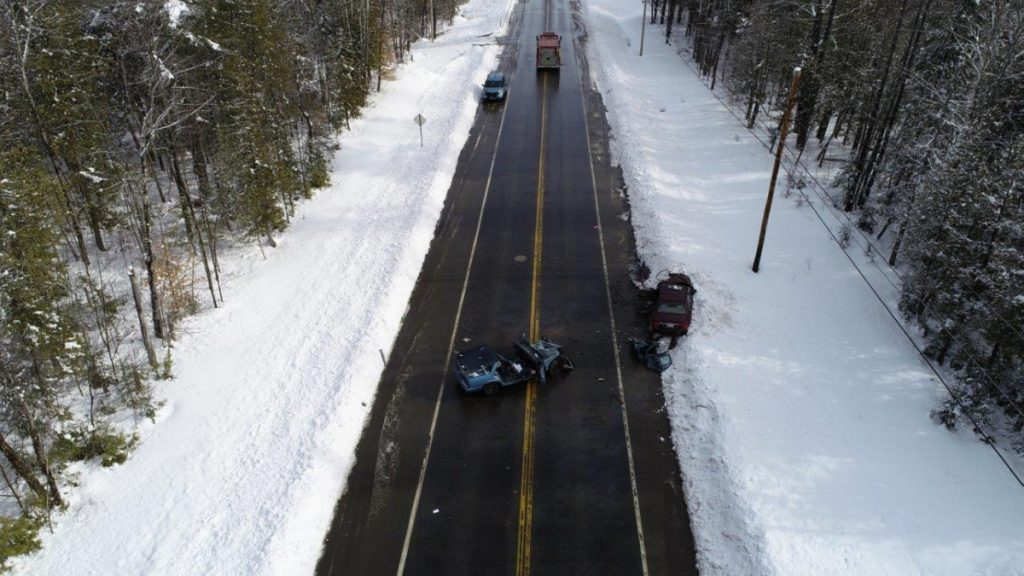 A head-on collision on U.S. Route 2 just east of Canaan resulted in two people being flown to a Bangor hospital in a LifeFlight of Maine helicopter with injuries that apparently were not life-threatening. Maine State Police provided a drone to map the crash scene, which enabled police to reopen the route to traffic much more quickly than using conventional methods.