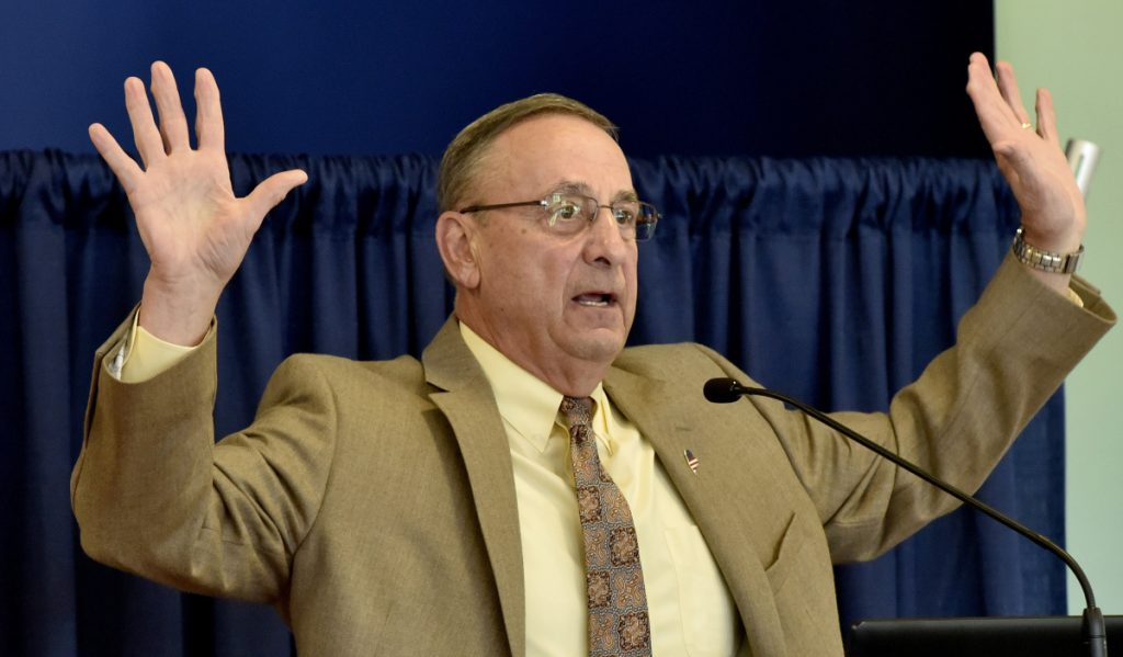 Gov. Paul LePage outlines his legislative agenda for the rest of his term during a breakfast meeting with the Mid-Maine Chamber of Commerce at Thomas College in Waterville on Thursday.
