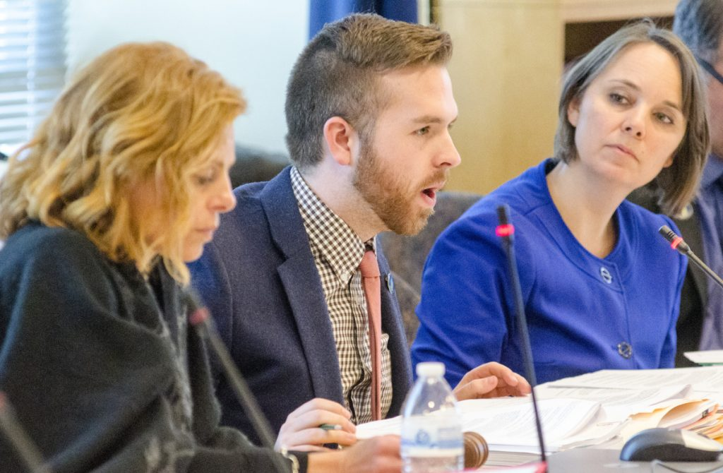 Rep. Ryan Fecteau, flanked by  Sen. Amy Volk (left) and Sen. Shenna Bellows (right) has requested that the Government Oversight Committee launch an investigation into the Department of Labor's unemployment insurance filing system and management.
