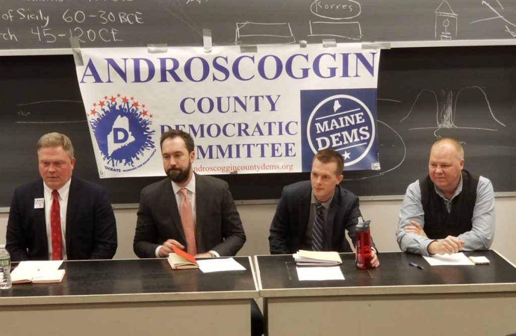 Democratic congressional candidates, from left, Craig Olson, Lucas St. Clair, Jared Golden and Jonathan Fulford attended a 2nd District forum Thursday night at Bates College. They are competing in a June 12 primary for the opportunity to challenge Republican U.S. Rep. Bruce Poliquin in the general election this fall.