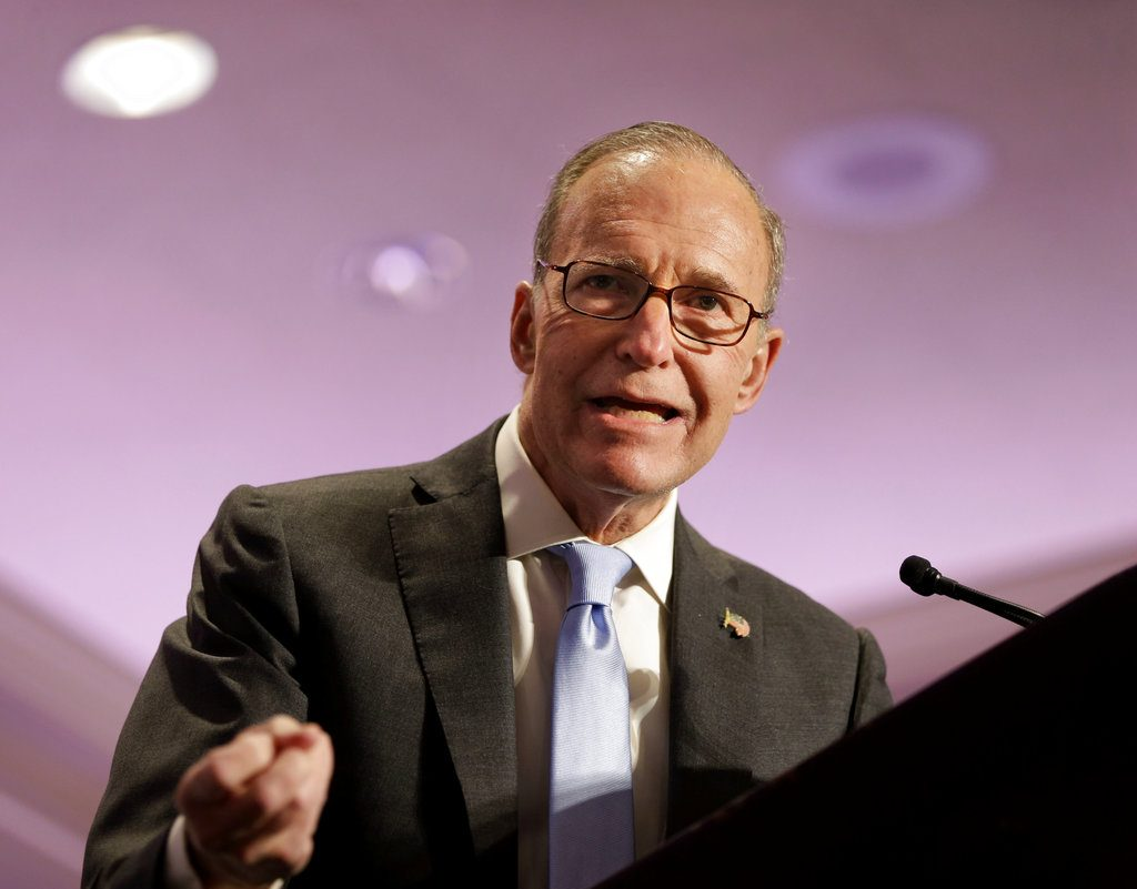 Larry Kudlow speaks at the New York State Republican Convention in this 2014 photo. For a decade and a half, he's been a fixture on CNBC. Now he'll be chairman of  the White House's National Economic Council.