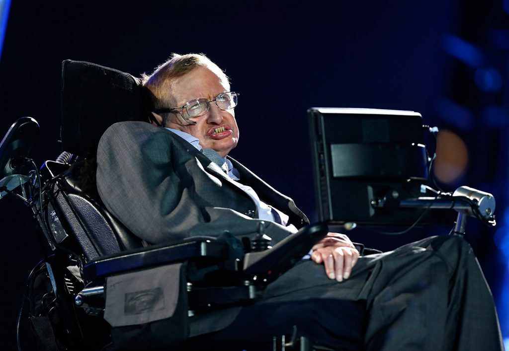 British physicist Stephen Hawking speaks during the Opening Ceremony for the 2012 Paralympics in London. Hawking, whose brilliant mind ranged across time and space though his body was paralyzed by disease, has died at the age of 76.