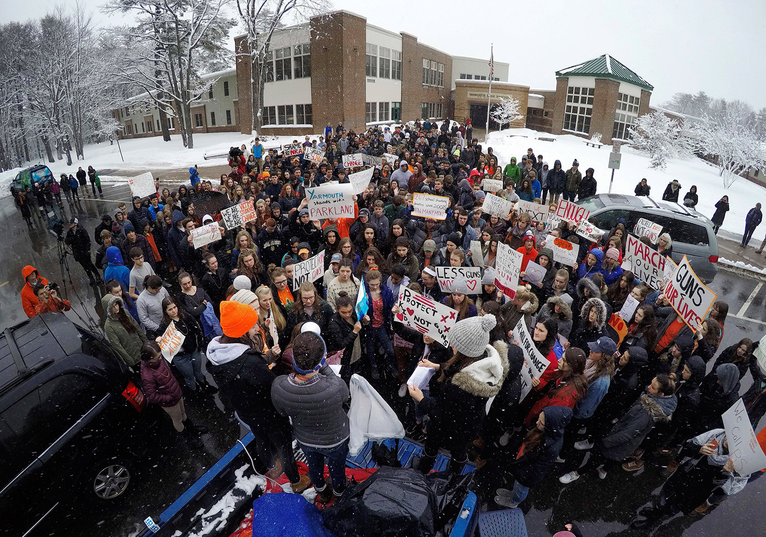 Despite snow day, Portland students join national walkout in downtown protest