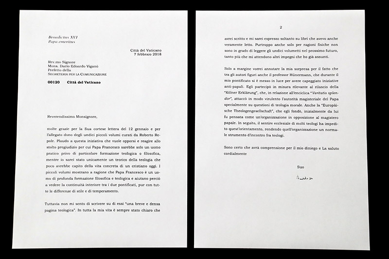 This photo shows a complete copy of a letter by Emeritus Pope Benedict XVI about Pope Francis that the Vatican released Saturday, March 17, 2018, after coming under blistering criticism for previously selectively citing it in a press release and digitally manipulating a photograph of it. The previously hidden part of the letter, the Vatican blurred the final two lines of the letter's first page, provides the real explanation why Benedict refused to provide commentary on a new Vatican-published compilation of books about Francis' theological and philosophical background.