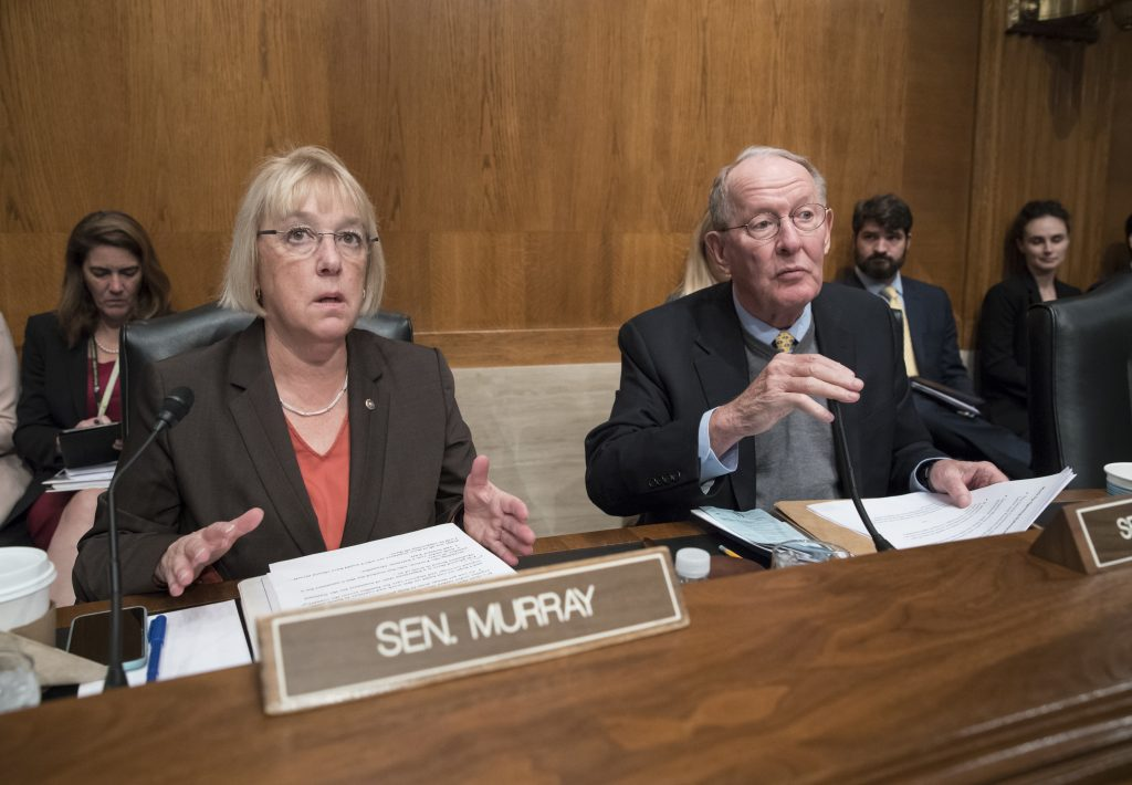 "Sen. Patty Murray, D-Wash., the ranking member of the Senate Health, Education, Labor, and Pensions Committee, shown in October, said a late Republican effort to add abortion funding restrictions to a health insurance stabilization bill is ""partisan"" and comes as a surprise after months of negotiations."