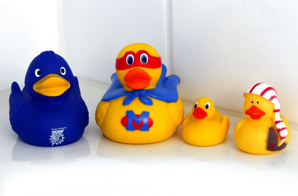 Swiss researchers said on Tuesday, the cute, yellow bath-time friends harbor a dirty secret: Microbes swimming inside.