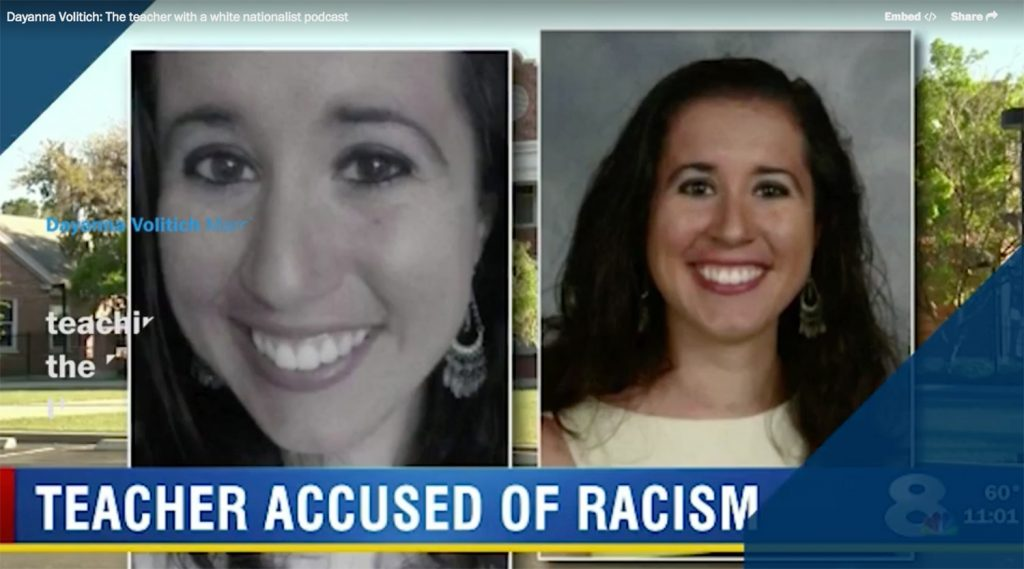 Dayanna Volitich is shown in a television report. The HuffPost reported that leads a double life as a popular white-nationalist podcaster known as Tiana Dalichov who espouses anti-Semitic conspiracy theories and believes that Muslims should be eradicated from the earth.